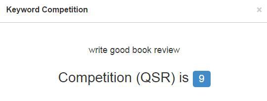 英文关键词write good book review竞争度指标