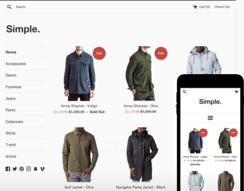 最好的免费Shopify主题模板之五:Simple theme