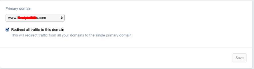 shopify主域名设置