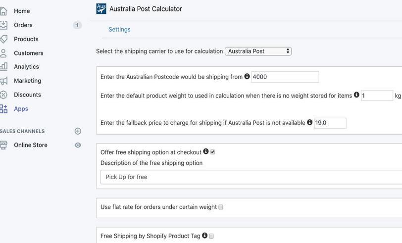 shopify Shipping设置