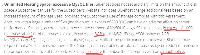bluehost对主机空间大小的解释