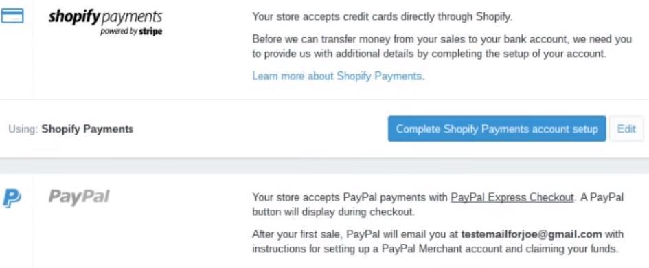设置Shopify店铺payments