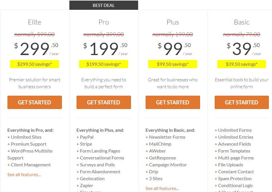 WPForms价格