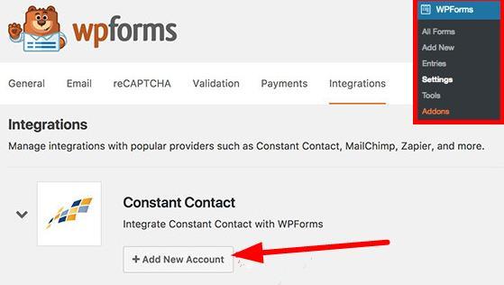 WPForms中的Constant contact设置集成