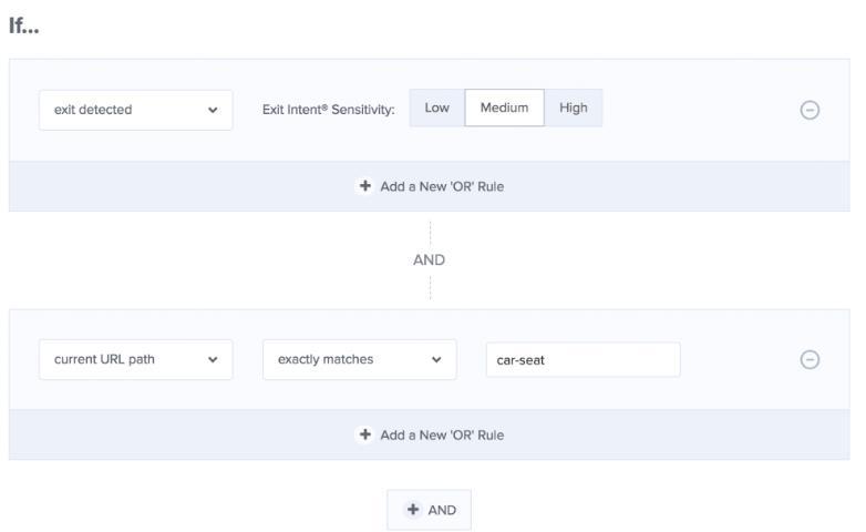 使用OptinMonster的显示规则将opt-in定向到特定页面。