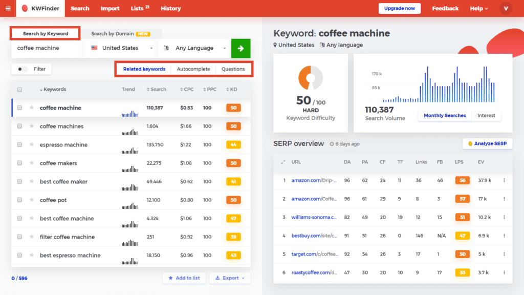 KWFinder-按关键字数据源搜索