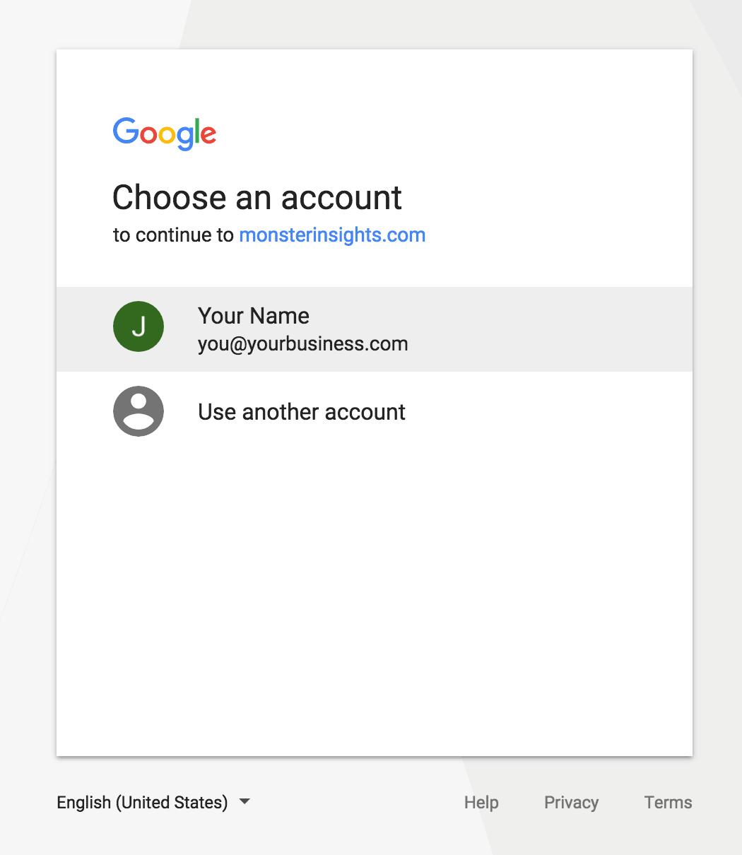 MonsterInsights验证-选择你的google账户