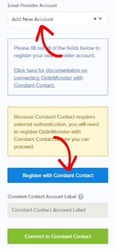 添加constant contact集成