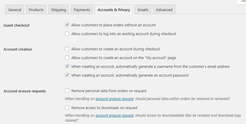WooCommerce帐户和隐私设置