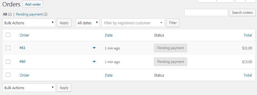 WooCommerce订单页面