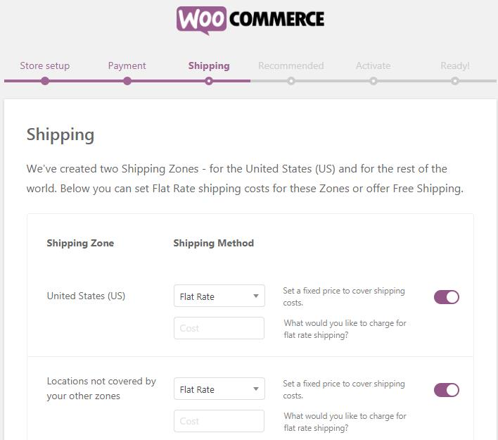 WooCommerce Shipping页面