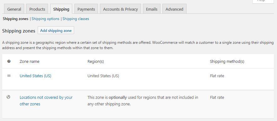WooCommerce Shipping设置