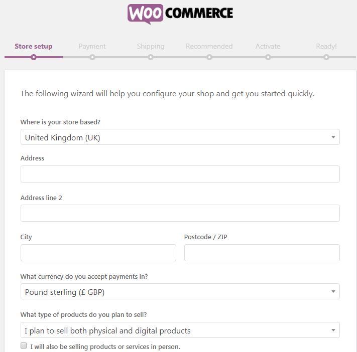WooCommerce商店设置页面