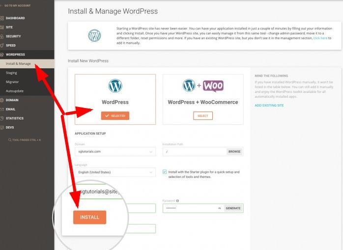 在网站后台安装wordpress