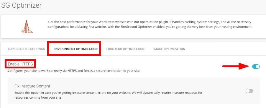 使用SG Optimizer启用HTTPS