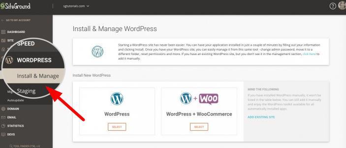 使用Install & Manage WordPress工具