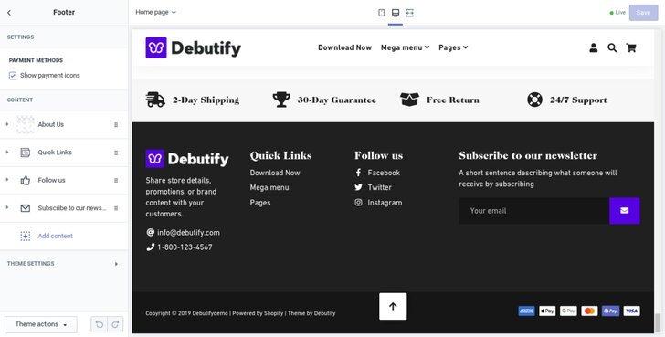 debutify主题功能-自定义页脚