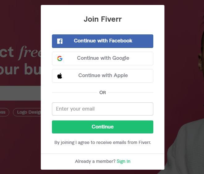 注册Fiverr账户