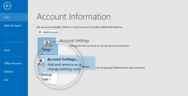 在Microsoft Outlook中添加电子邮件帐户