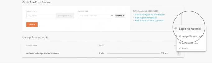 从SiteGround站点工具访问和登录Webmail