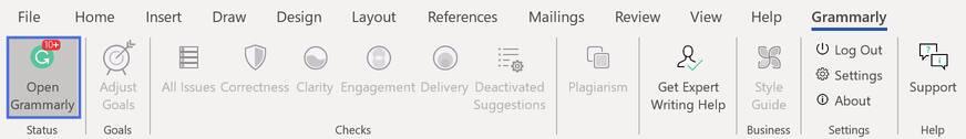 在word文档中点击Open Grammarly来启用功能