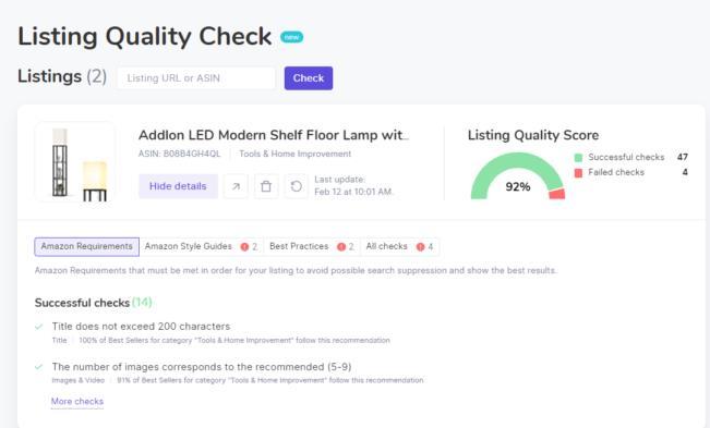 点击Listing Quality Check按钮,看看listing的质量得分