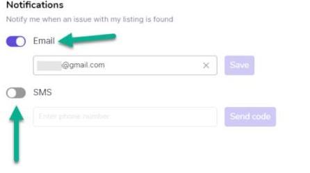 列表注意事项以邮件或SMS形式发送给用户