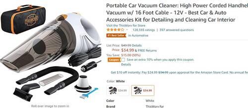亚马逊热销的便携式汽车吸尘器
