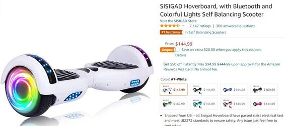 SISIGAD气垫板,带有蓝牙和彩灯自动平衡踏板车