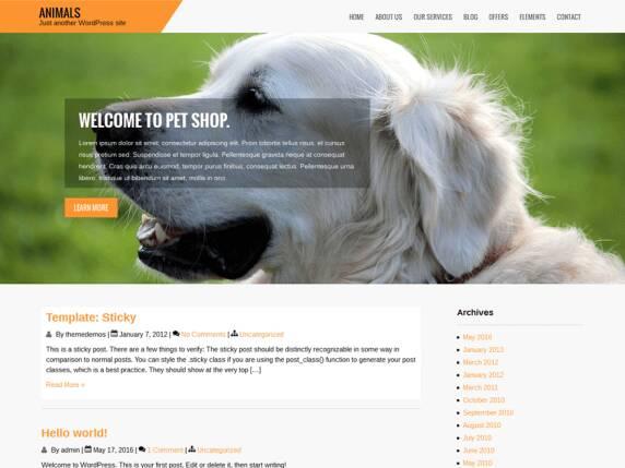 使用wordpress animals主题建设的宠物利基网站