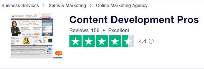 在trustpilot对contentdevelopmentpros.com的高评价