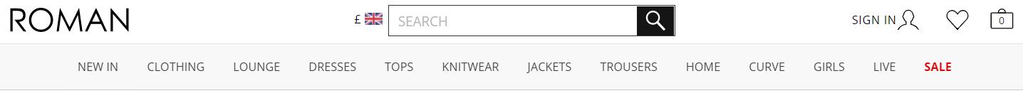 英国Roman Originals服装品牌网站截图