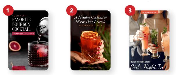 如何吸引不同的受众并出现在 Pinterest 上的不同搜索结果中 - 三个例子可以接触到波旁酒爱好者、节日派对主持人和计划婚礼的夫妇。
