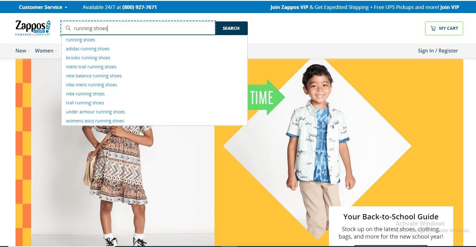Zappos网站搜索截图