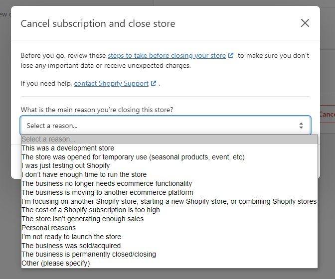 如何删除 Shopify 帐户-5