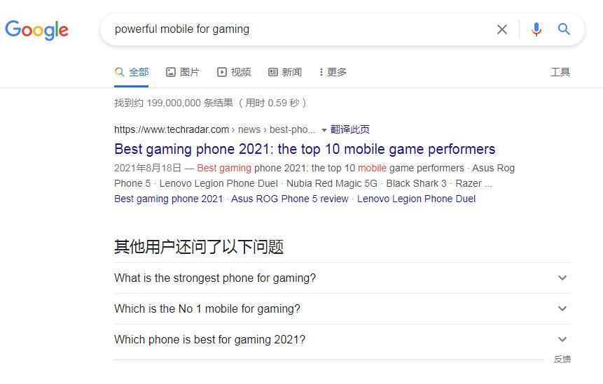谷歌搜索结果截图