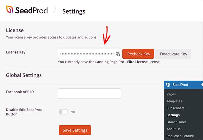 验证 SeedProd许可证密钥